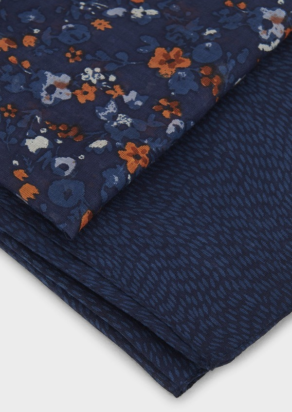 Echarpe en coton bleu à motif fleuri orange - Father and Sons 6238