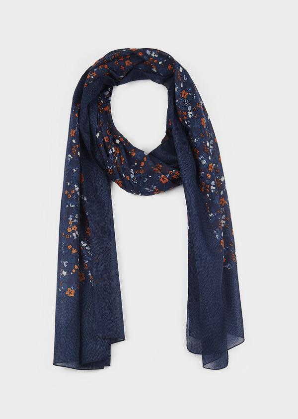 Echarpe en coton bleu à motif fleuri orange - Father and Sons 6237