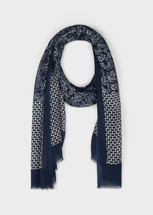 Echarpe en modal bleu à motif fleuri blanc - Father and Sons 6265