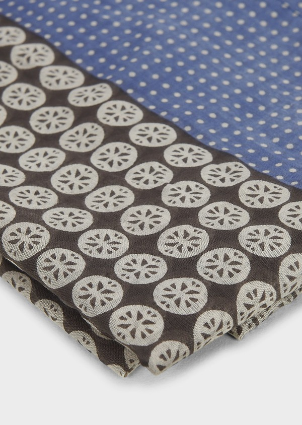 Echarpe en coton bleu à motifs géométriques gris - Father and Sons 6254