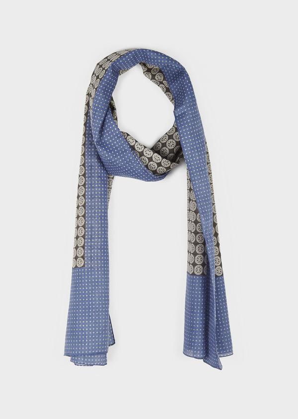 Echarpe en coton bleu à motifs géométriques gris - Father and Sons 6253