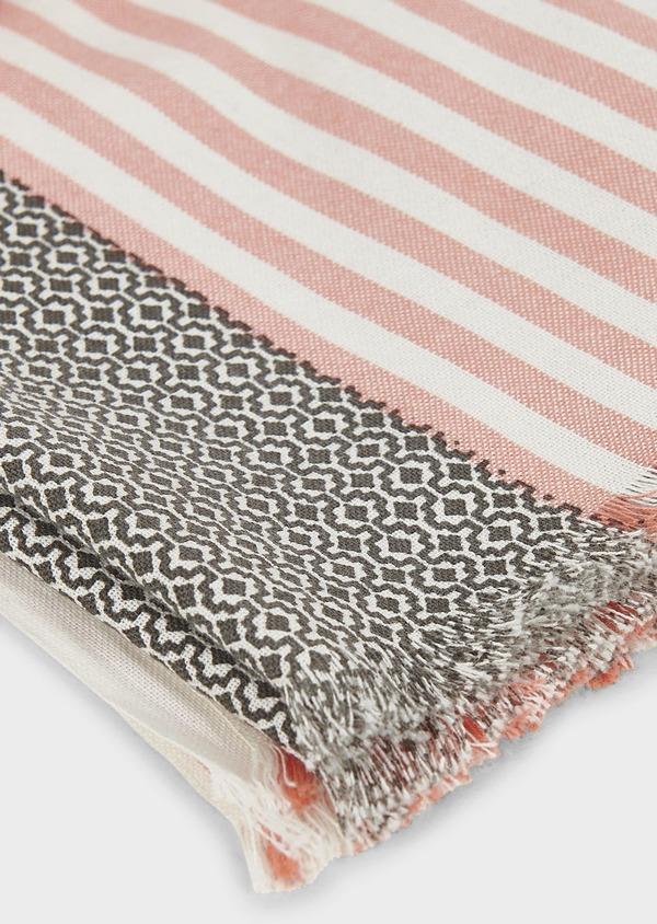 Echarpe en coton corail à motifs géométriques gris - Father and Sons 6270