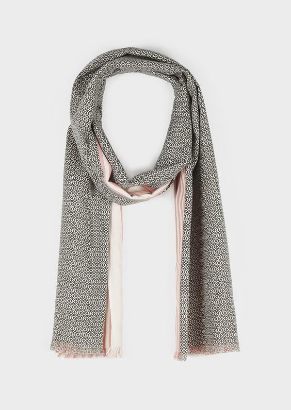 Echarpe en coton corail à motifs géométriques gris - Father and Sons 6269