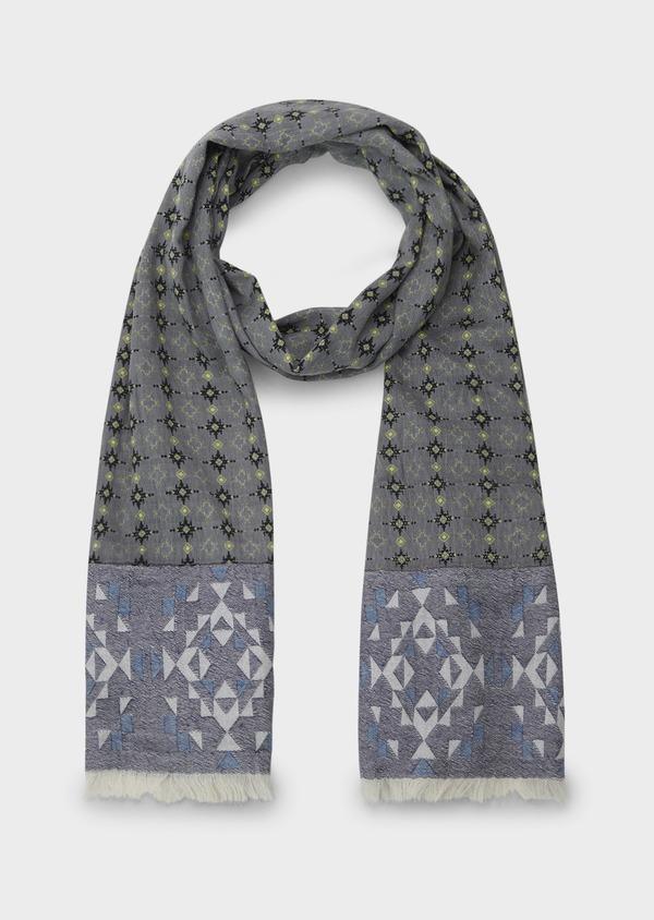 Echarpe en coton gris à motifs géométriques noir et vert clair - Father and Sons 6281