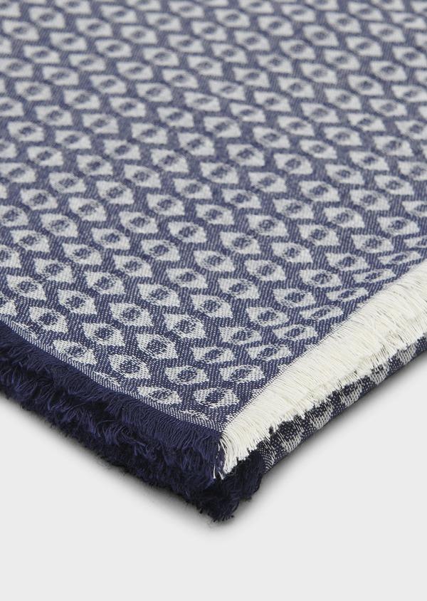 Echarpe en coton mélangé bleu à motifs géométriques blancs - Father and Sons 6246