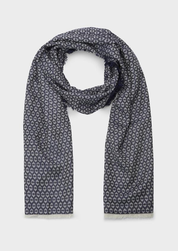Echarpe en coton mélangé bleu à motifs géométriques blancs - Father and Sons 6245