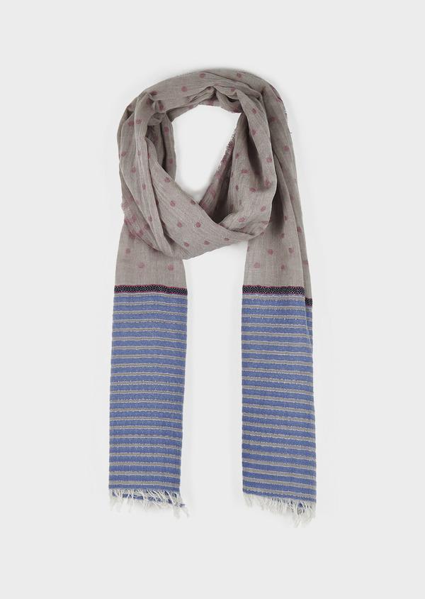 Echarpe en coton gris clair à motifs géométriques bleu et rose - Father and Sons 6285