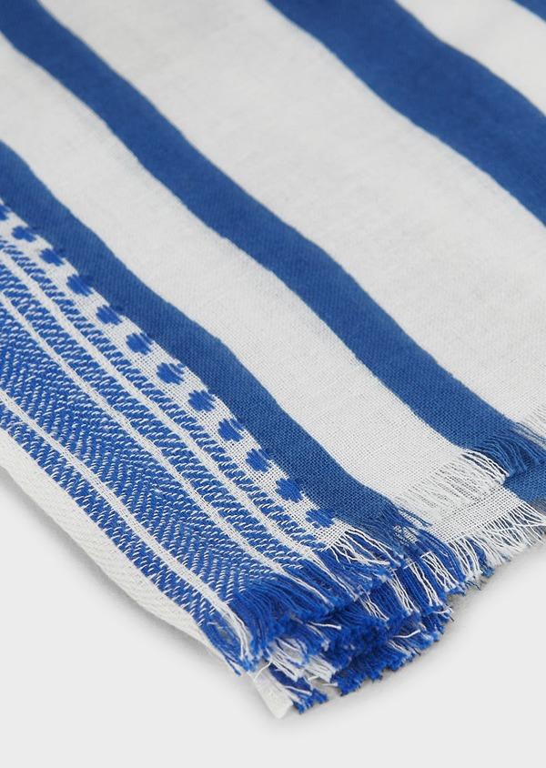 Echarpe en coton blanc à rayures bleu et marron - Father and Sons 6274