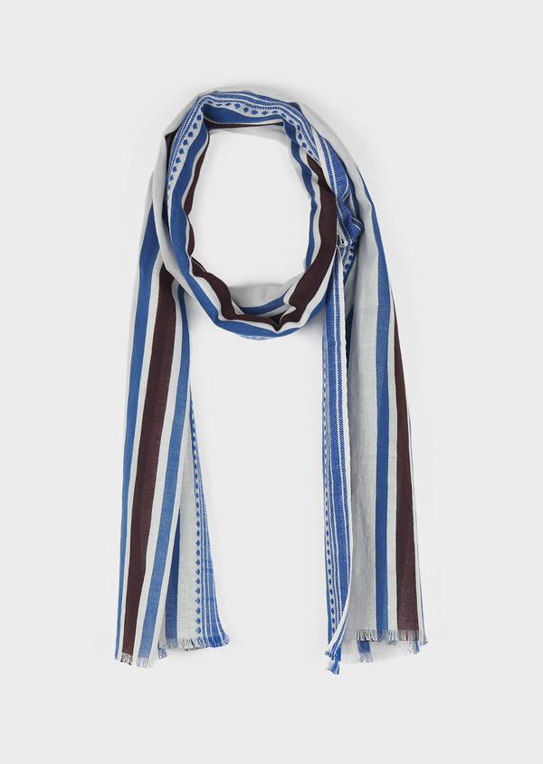 Echarpe en coton blanc à rayures bleu et marron - Father and Sons 6273