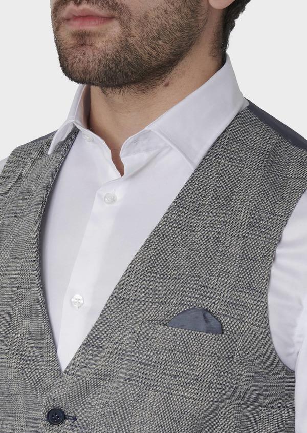 Gilet casual en coton mélangé bleu gris Prince de Galles - Father and Sons 8112