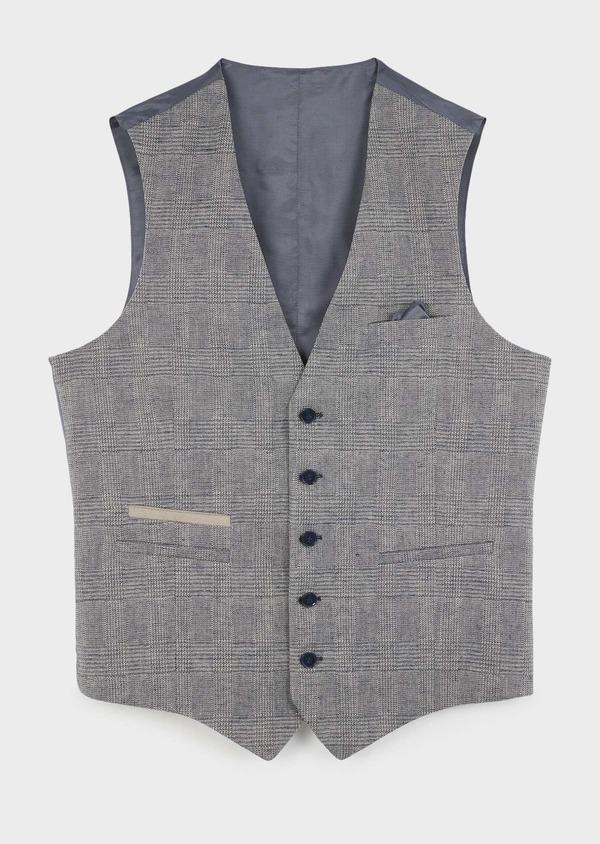 Gilet casual en coton mélangé bleu gris Prince de Galles - Father and Sons 8110