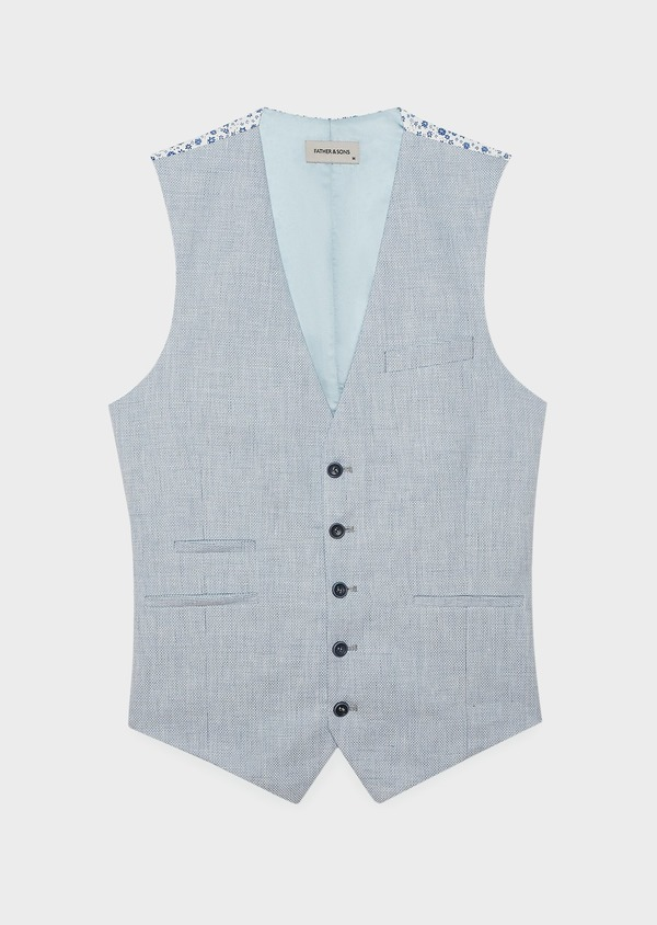 Gilet casual en lin mélangé bleu clair - Father and Sons 6314