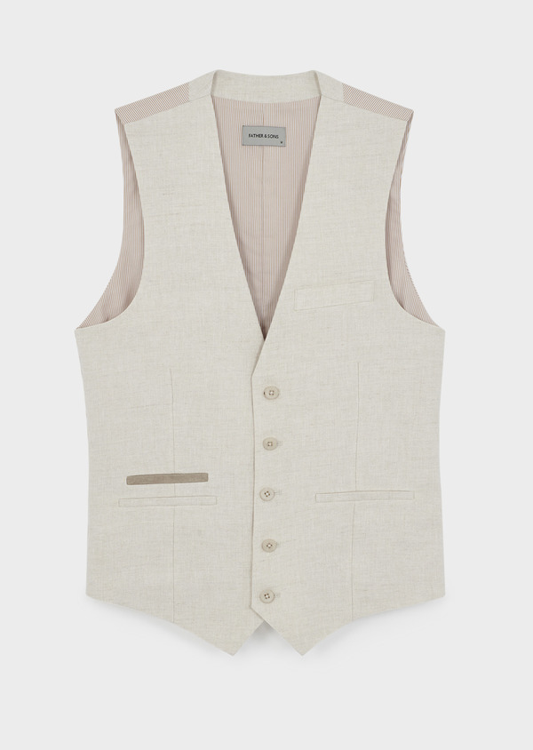Gilet casual en lin uni beige - Father and Sons 8116
