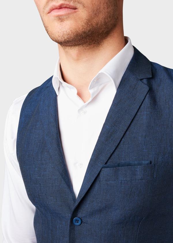 Gilet casual en lin bleu Prince de Galles - Father and Sons 6295