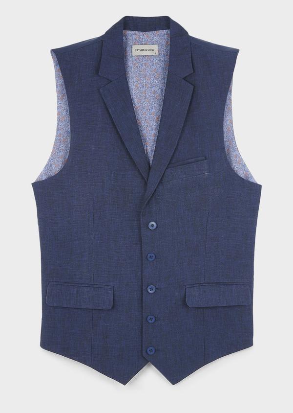 Gilet casual en lin bleu Prince de Galles - Father and Sons 6293