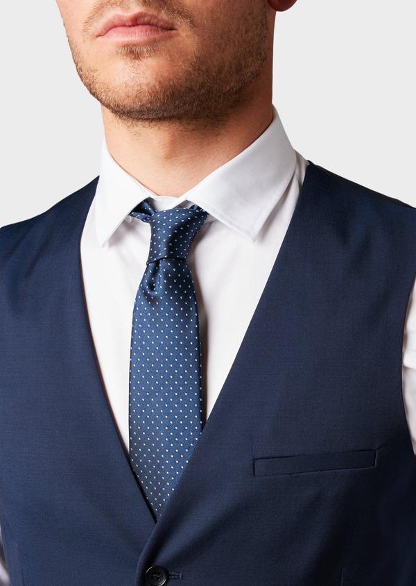 Gilet de costume en laine Vitale Barberis Canonico unie bleu indigo - Father and Sons 8743