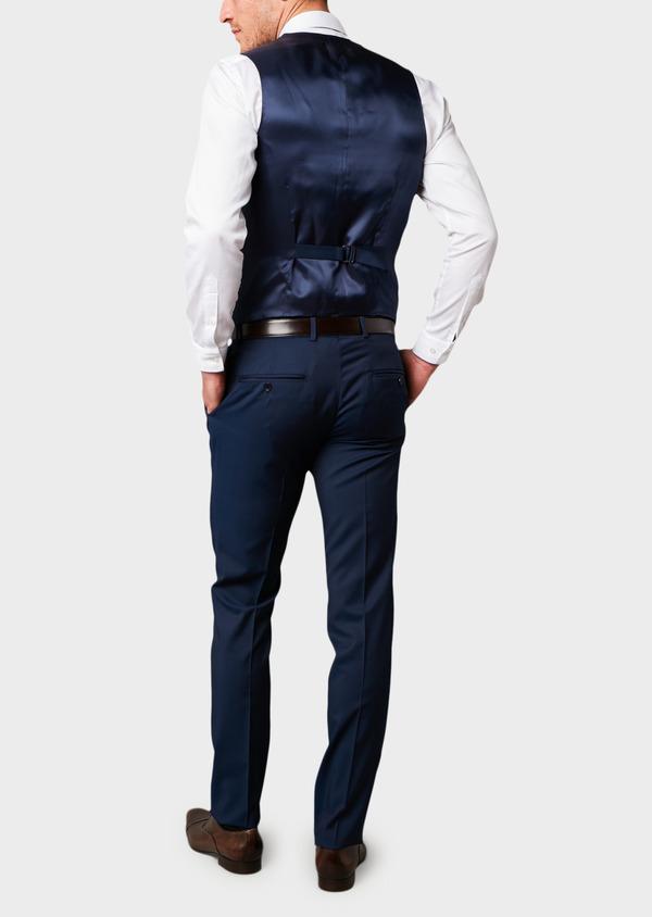 Gilet de costume en laine Vitale Barberis Canonico unie bleu indigo - Father and Sons 8742