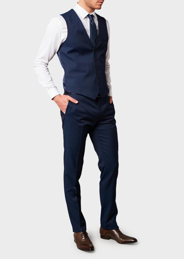 Gilet de costume en laine Vitale Barberis Canonico unie bleu indigo - Father and Sons 8741