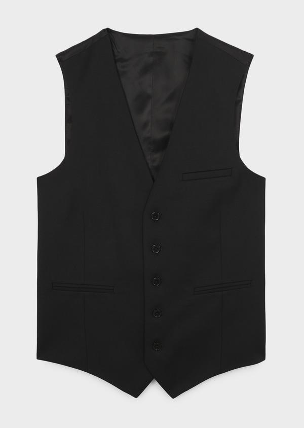 Gilet de costume en laine Vitale Barberis Canonico unie noire - Father and Sons 8723