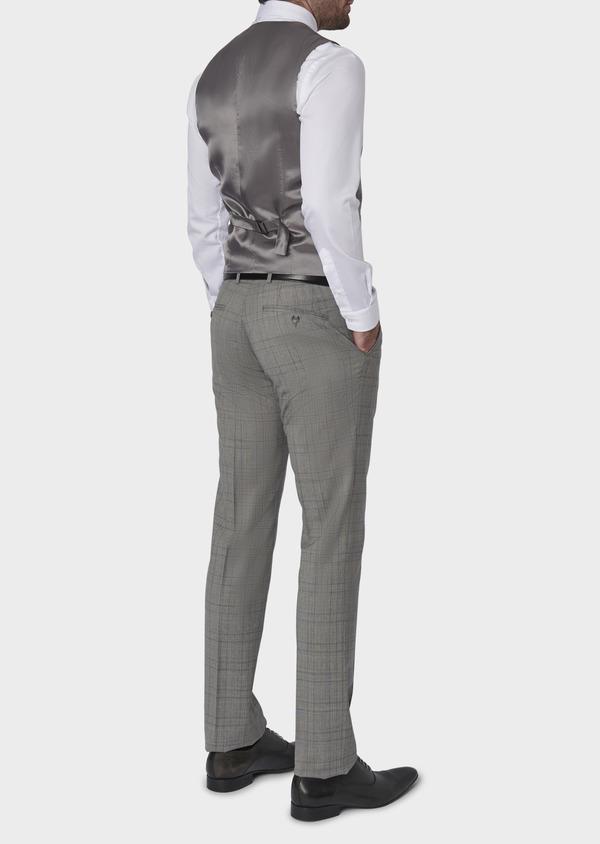 Gilet de costume en laine gris clair Prince de Galles - Father and Sons 6340