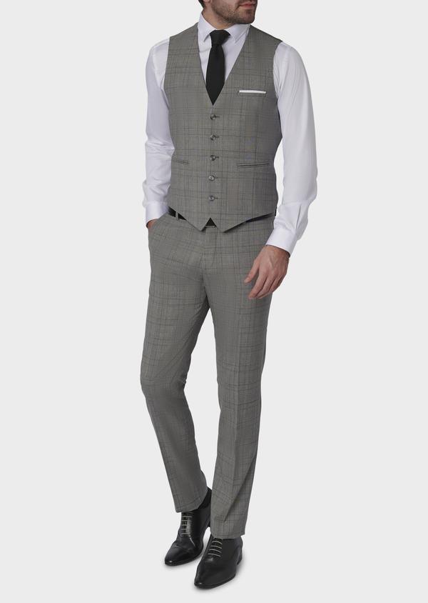 Gilet de costume en laine gris clair Prince de Galles - Father and Sons 6339