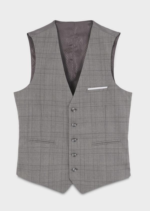 Gilet de costume en laine gris clair Prince de Galles - Father and Sons 6337