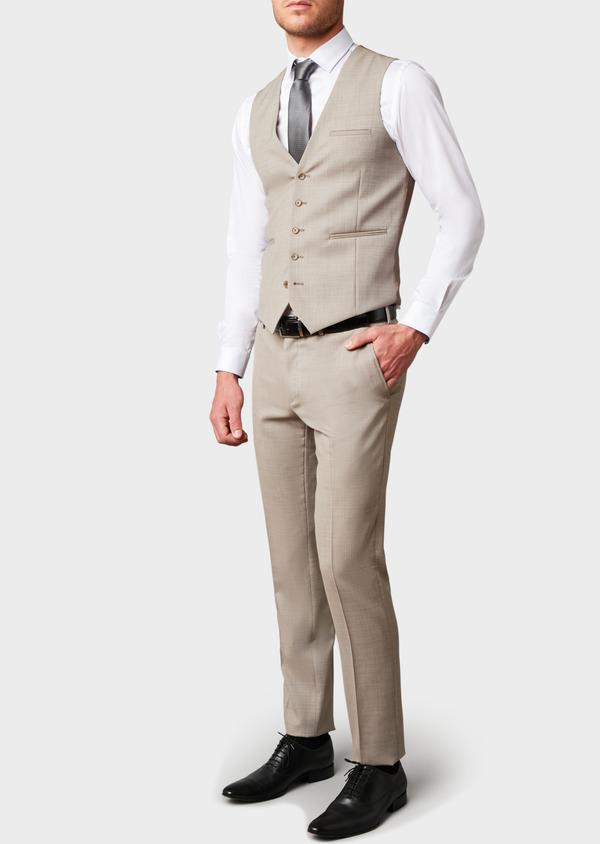 Gilet de costume en laine beige - Father and Sons 6395