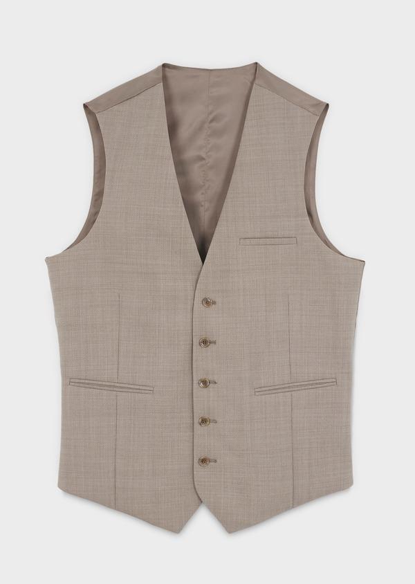 Gilet de costume en laine beige - Father and Sons 6393
