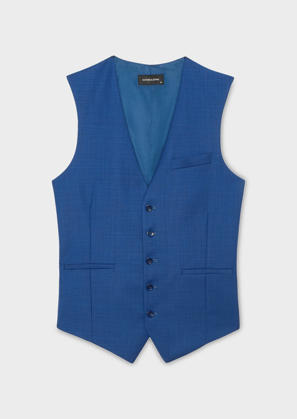 Gilet de costume en laine bleu indigo - Father and Sons 6361