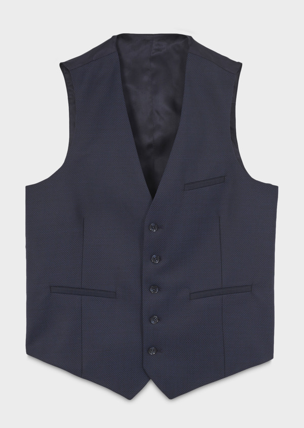 Gilet de costume en laine bleue à pois - Father and Sons 6401