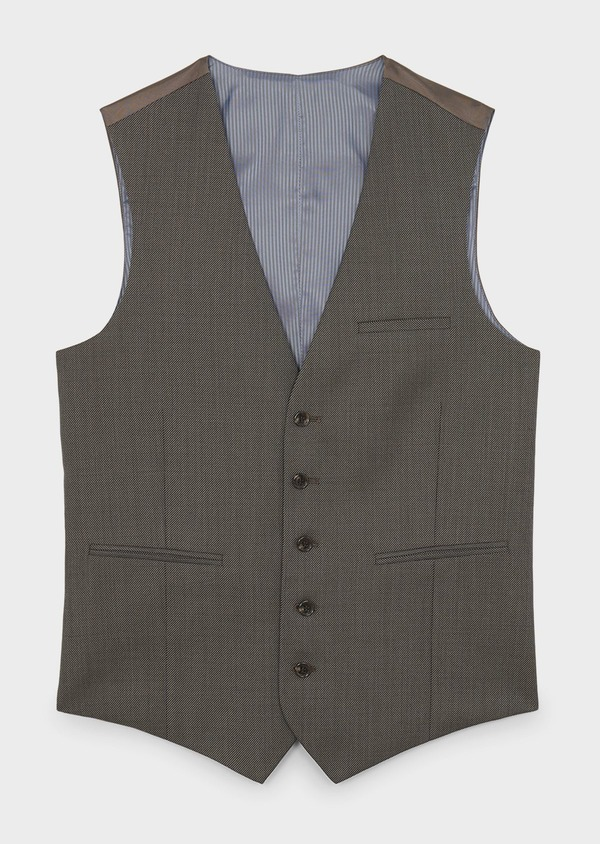 Gilet de costume en laine marron clair - Father and Sons 6385
