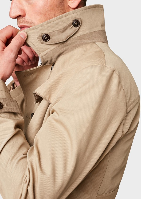 Trench droit double boutonnage uni beige - Father and Sons 6448