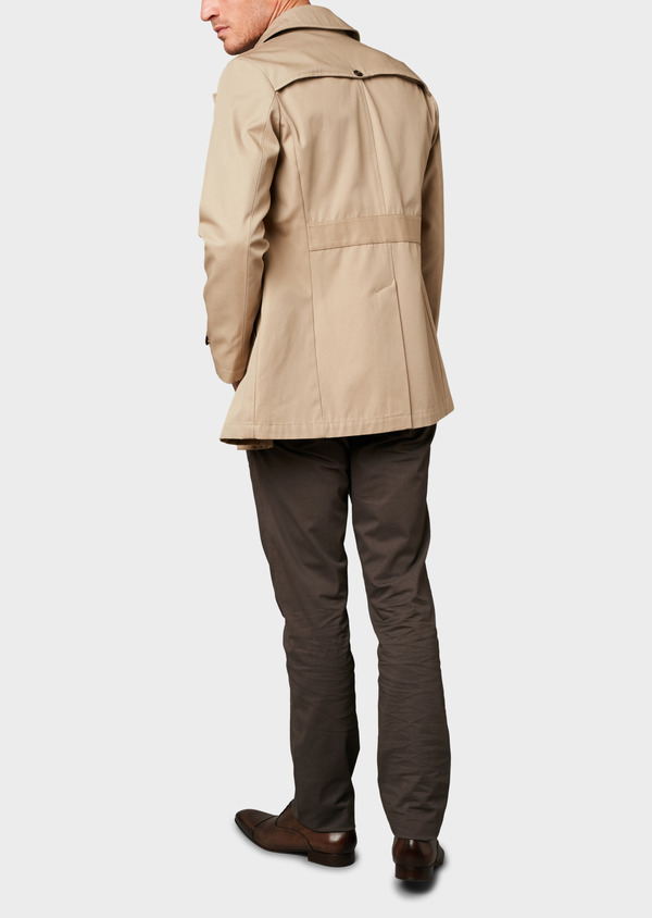 Trench droit double boutonnage uni beige - Father and Sons 6447