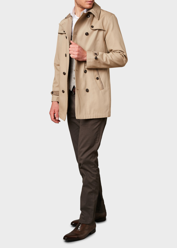Trench droit double boutonnage uni beige - Father and Sons 6446