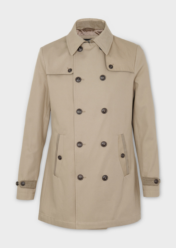 Trench droit double boutonnage uni beige - Father and Sons 6444