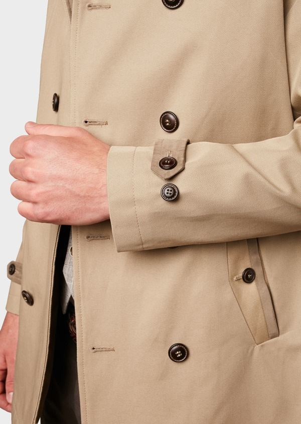 Trench droit double boutonnage uni beige - Father and Sons 6449