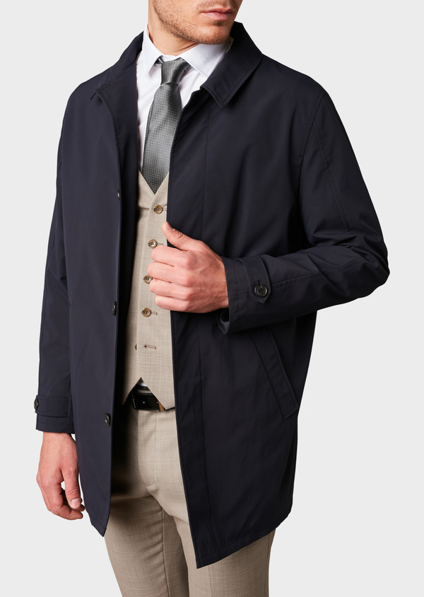 Trench droit uni bleu indigo - Father and Sons 6460