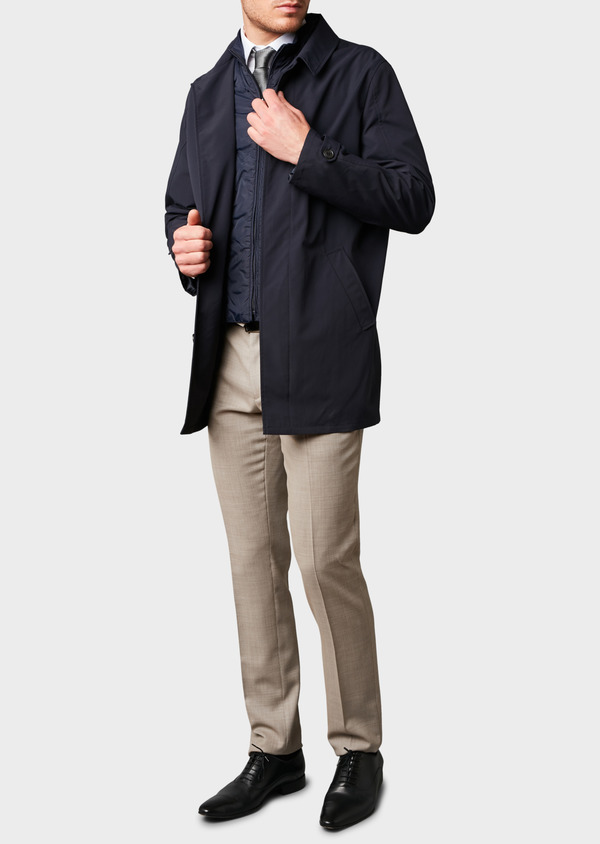 Trench droit uni bleu indigo - Father and Sons 6456