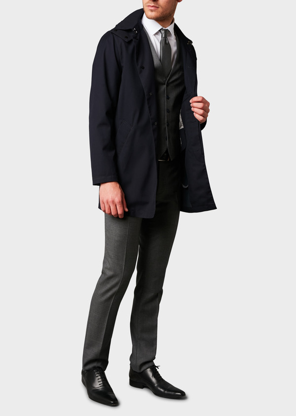 Trench droit uni bleu marine - Father and Sons 6428