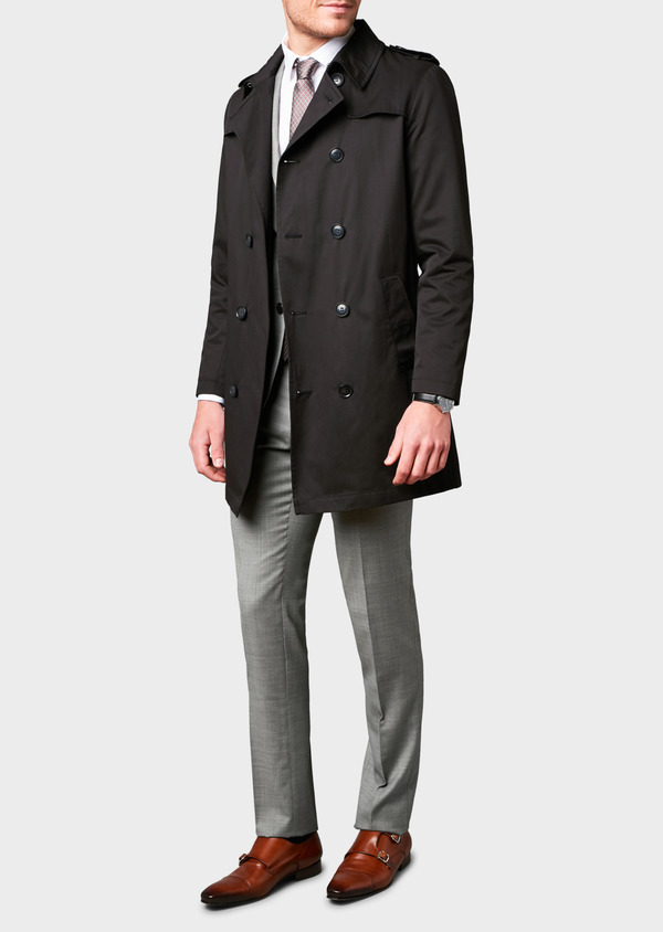 Trench droit double boutonnage uni noir - Father and Sons 6419