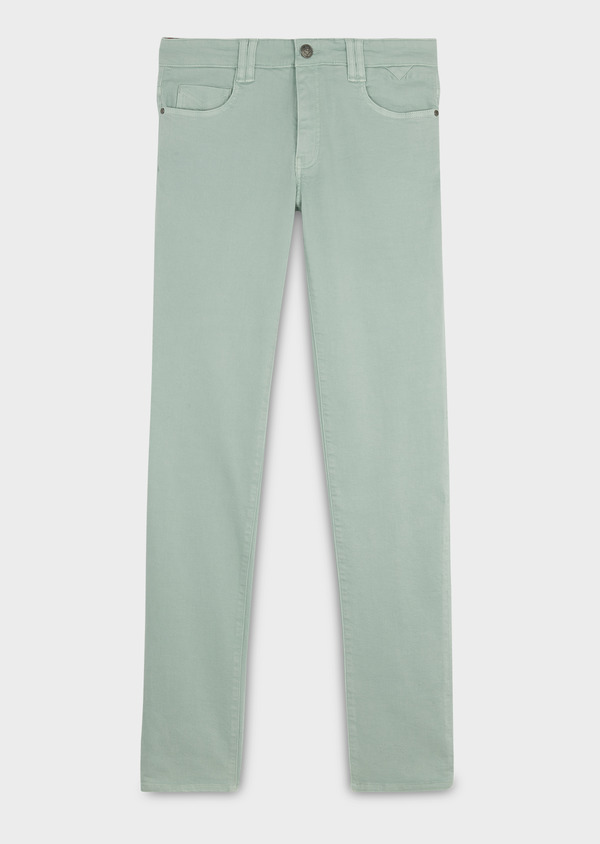 Jean skinny en coton hyperflex uni vert - Father and Sons 6482