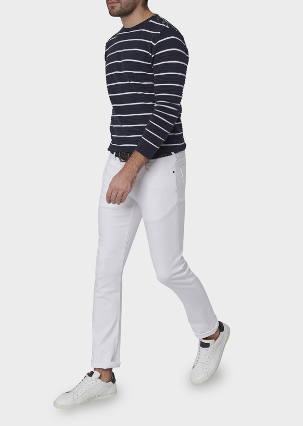 Jean skinny en coton hyperflex uni blanc - Father and Sons 6466