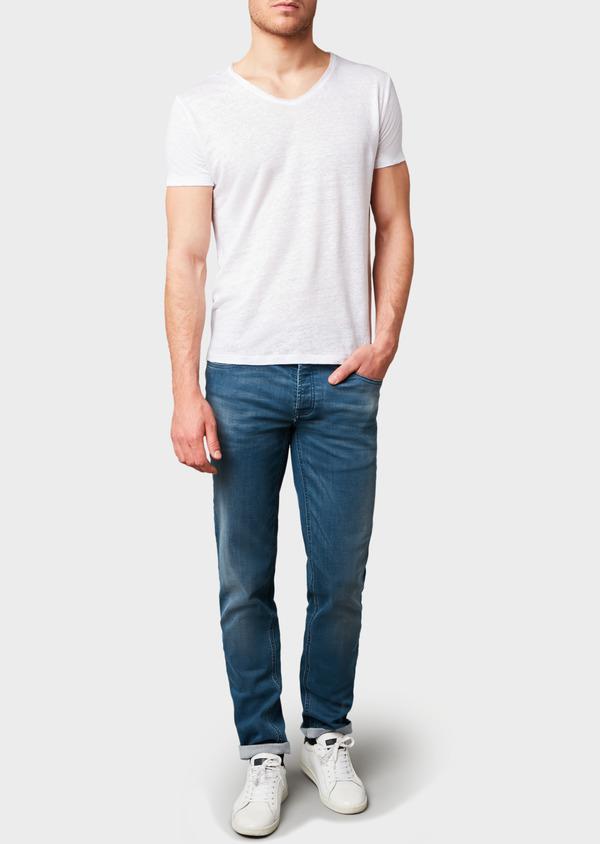 Jean skinny en coton hyperflex bleu gris délavé - Father and Sons 6496