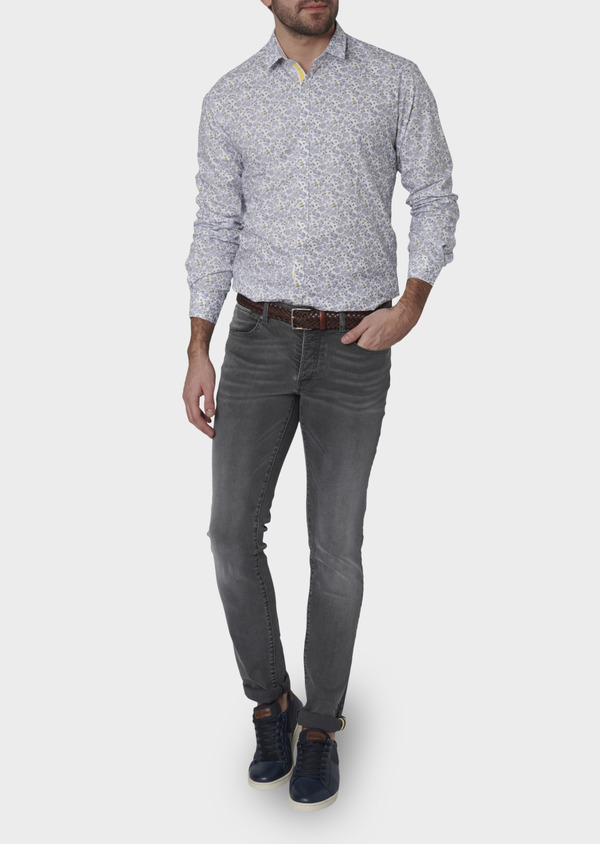 Jean skinny en coton hyperflex gris délavé - Father and Sons 6502