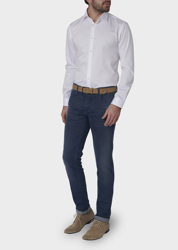 Jean skinny en coton hyperflex bleu indigo délavé - Father and Sons 6490