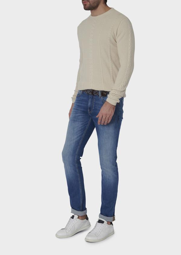 Jean skinny en coton hyperflex uni bleu clair - Father and Sons 6472
