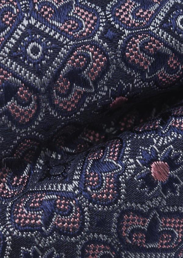 Noeud-papillon en soie bleu indigo à motif fleuri bleu clair et rose - Father and Sons 6519