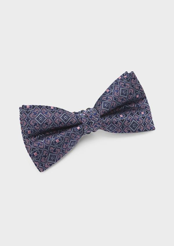 Noeud-papillon en soie bleu indigo à motif fleuri bleu clair et rose - Father and Sons 6518