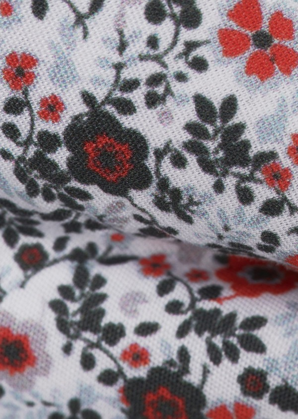 Noeud-papillon en coton blanc à motif fleuri gris et rouge - Father and Sons 6531