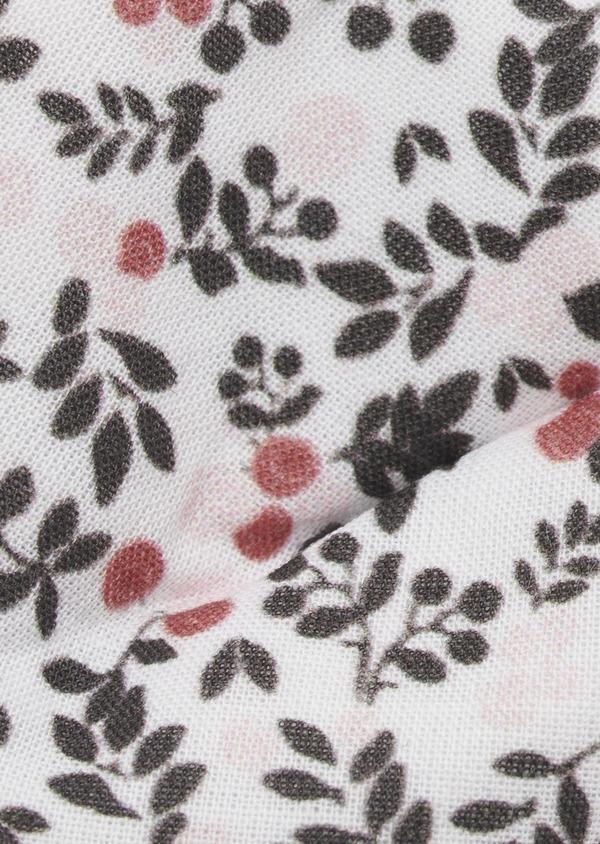 Noeud-papillon en coton blanc à motif fleuri rose clair et gris - Father and Sons 6559
